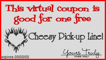 This coupon entitles you to one free cheesy pick up line